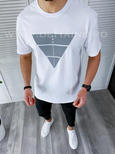 Tricou barbati alb regular fit reflectorizant B3729 49-31 - Tricouri barbati -