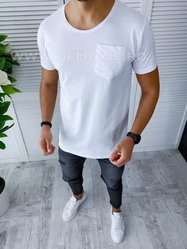 Tricou barbati alb slim fit B1961 P8-3 - Tricouri barbati -