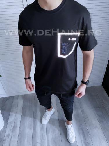 Tricou barbati negru regular fit reflectorizant B3727 49-32 - Tricouri barbati -