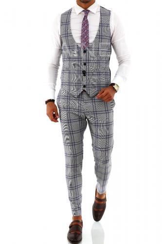 Vesta barbati eleganta in carouri ZR A9020 O2-32 - Imbracaminte barbati - Veste elegante